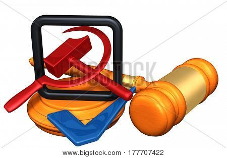 American Flag With Hammer And Sickle 3D Illustration