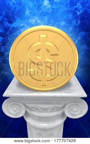 Dollar Coin On A Column 3D Illustration