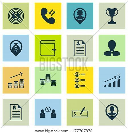 Set Of 16 Management Icons. Includes Bank Payment, Wallet, Job Applicants And Other Symbols. Beautiful Design Elements.