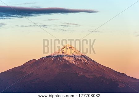 Summit of the Osorno volcano at the Chilean Lake district Chile