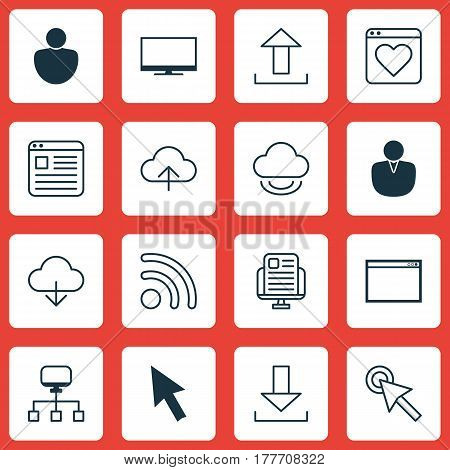 Set Of 16 Internet Icons. Includes Blog Page, Send Data, Human And Other Symbols. Beautiful Design Elements.