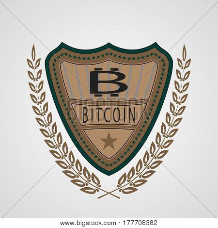 The vector shield with bitcoin symbol for you business