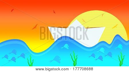 A playful illustration of a paper boat in the water. View on a Paper Boat in front of a Sunset. Fishes in the Water