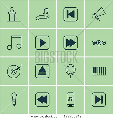 Set Of 16 Audio Icons. Includes Extract Device, Note, Rewind Back And Other Symbols. Beautiful Design Elements.