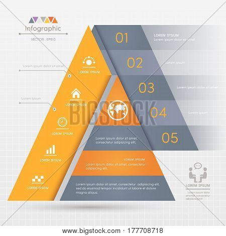 Triangle Infographics design template with business icons process diagram vector eps10 illustration
