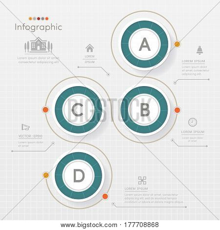 Circle Infographics design template with icons process diagram vector eps10 illustration