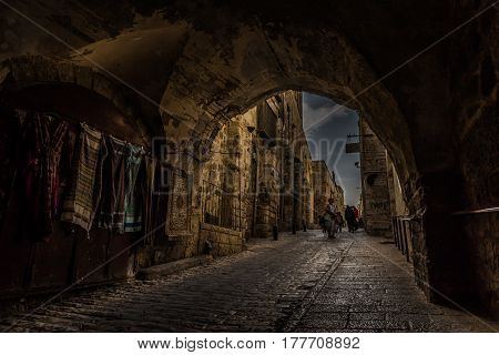 Jerusalem, Israel - February 28, 2017: Narrow Street In Old City Of Jerusalem, Israel.