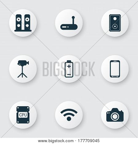 Set Of 9 Computer Hardware Icons. Includes Camcorder, Smartphone, Battery And Other Symbols. Beautiful Design Elements.