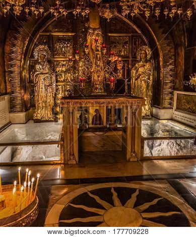 Jerusalem, Israel - 28 February 2017: The Church Of The Holy Sepulchre Is Considered The Holiest Chr