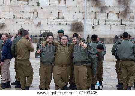 Jerusalem Israel - March 01 2017 : Soldiers of Israel defense force at the Western Wall.
