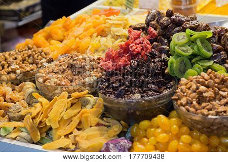 Close-up of different dried fruits. Jerusalem Old City Israel.