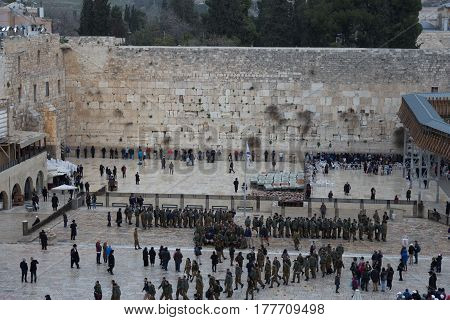 Jews praying  at the Western Wall in Jerusalem, Israel.