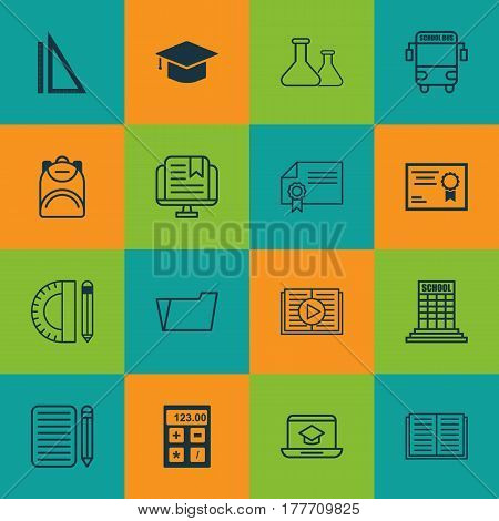 Set Of 16 Education Icons. Includes Certificate, E-Study, Document Case And Other Symbols. Beautiful Design Elements.