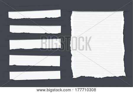Pieces of torn white blank and ruled note, copybook, notebook strips, sheets inserted into black cut paper.