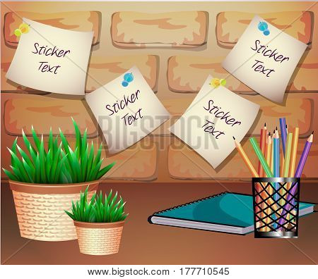 A composition with a stickers, a pot of plants, a notebook and colored pencils in realistic style. Brick texture background.