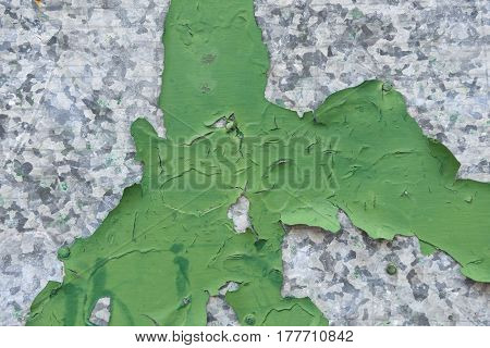 Detail of a piece of Flaking paint on galvanized metal