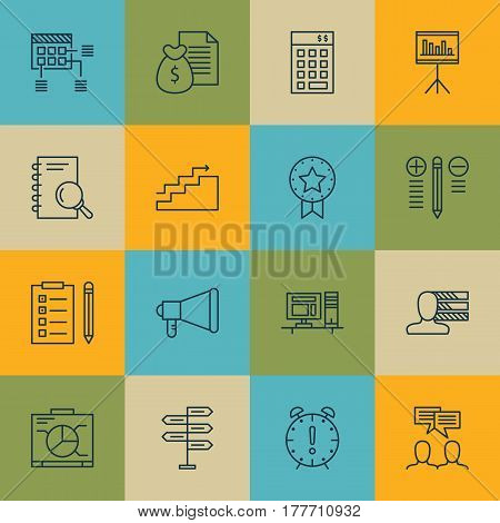 Set Of 16 Project Management Icons. Includes Growth, Computer, Time Management And Other Symbols. Beautiful Design Elements.
