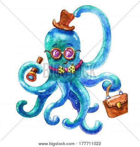 Cute blue business octopus-Octopus life. Wildlife brightly colored hand drawn watercolor style picture on white background. Colorful Travel watercolor illustration. Perfect for the marine theme