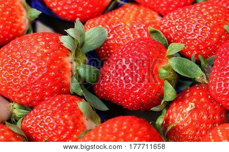 Ripe Red Strawberries For Sale At The Greengrocer