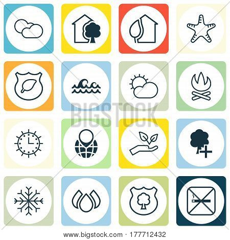 Set Of 16 Eco-Friendly Icons. Includes Sun Clock, Snow, Insert Woods And Other Symbols. Beautiful Design Elements.