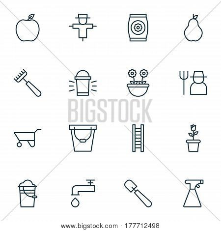 Set Of 16 Planting Icons. Includes Hang Lamp, Nectarine, Shovel And Other Symbols. Beautiful Design Elements.