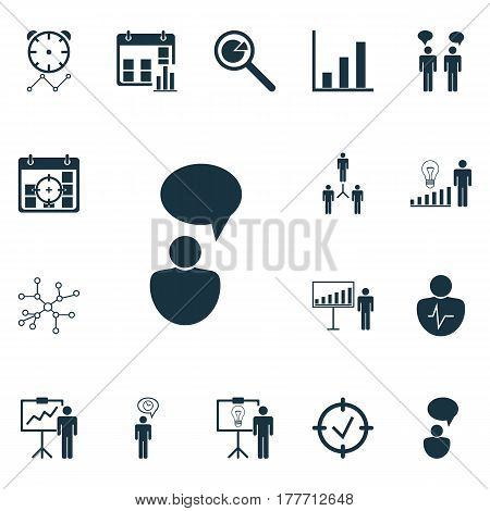 Set Of 16 Board Icons. Includes Special Demonstration, Project Presentation, Conversation And Other Symbols. Beautiful Design Elements.