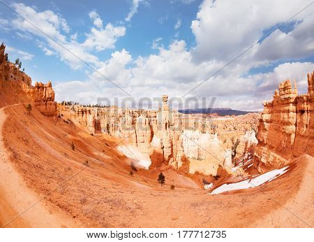 A fish eye view of huge ravine among sandstone mountains at Bryce Canyon National Park, Utah