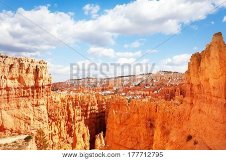 The Bryce Canyon viewed from inspiration point in the sun, Utah, USA