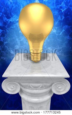 Light Bulb On A Column 3D Illustration