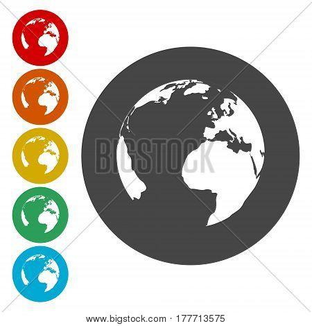 Pictograph of globe, Earth globe icon, simple vector icon