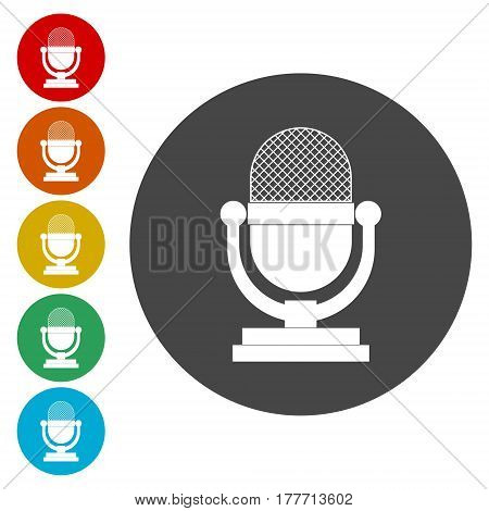Microphone icon, isolated on white background, simple vector icon