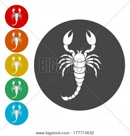 Scorpion icon set, simple vector illustration on white background