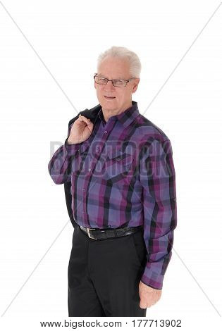 A well dressed handsome senior man standing isolated for white background in a checkered shirt and jacket over shoulder.