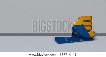 euro symbol and european union flag - 3d illustration