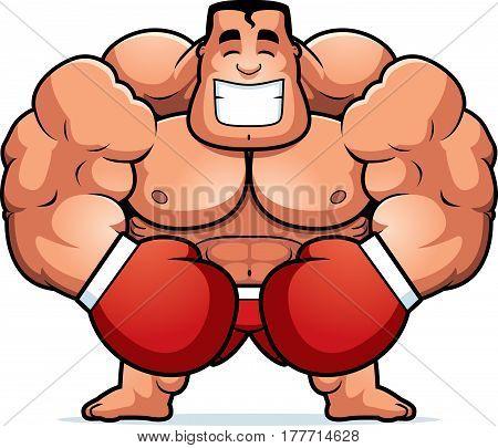 Cartoon Boxer Flexing