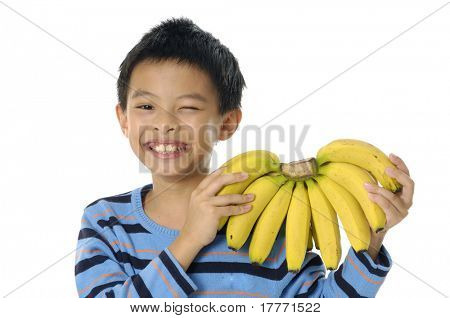 boy with banana, on his head