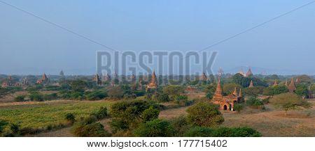 Beautiful panoramic view of the Bagan temples in the morning Myanmar