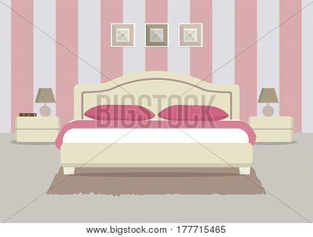 Bedroom in a pink color. There is a bed with pillows, bedside tables, lamps and other objects in the picture. Vector flat illustration