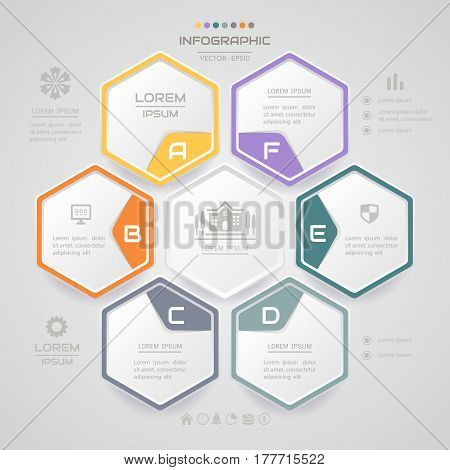Infographics Hexagon design template with business icons process diagram vector eps10 illustration