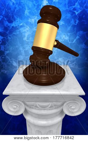Legal Gavel On A Column 3D Illustration