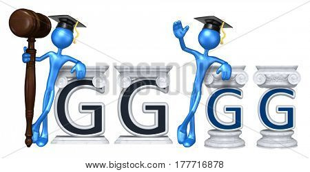 Education Lawyer Leaning On A Letter G The Original 3D Character Illustration