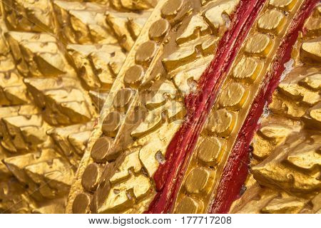 Closeup Golden serpent serpent background in wat thai