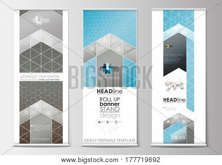Set of roll up banner stands, flat design templates, abstract geometric style, modern business concept, corporate vertical vector flyers, flag banner layouts. Scientific medical research, chemistry pattern, hexagonal design molecule structure, science vec