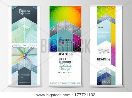 Set of roll up banner stands, geometric flat style templates, business concept, corporate vertical vector flyers, flag layout. Colorful design background with abstract shapes and waves, overlap effect.