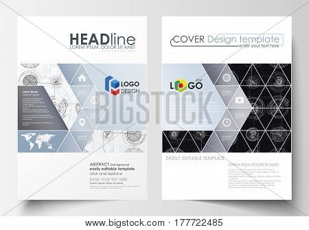 Business templates for brochure, magazine, flyer. Cover template, flat layout in A4 size. High tech design, connecting system. Science and technology concept. Futuristic abstract vector background