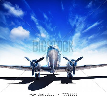 historic airplane against a blue cloudy sky
