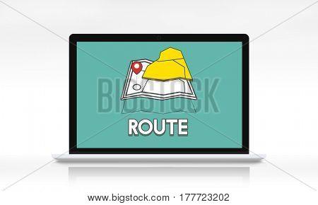 GPS location map travel graphic