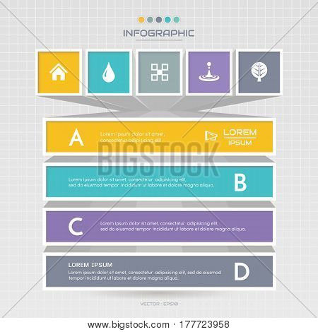 Infographics design template with icons process diagram vector eps10 illustration