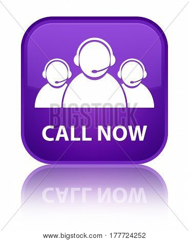Call Now (customer Care Team Icon) Special Purple Square Button
