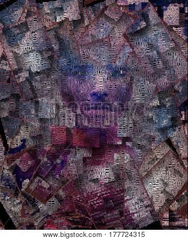 Man's face. Abstract painting with words.   3D Render  Some elements provided courtesy of NASA